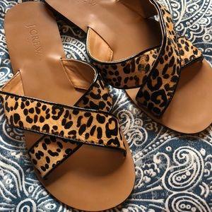 Leopard Jcrew slide on sandals